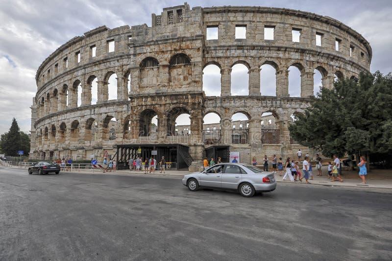 Римский амфитеатр арена, пула, Хорватия стоковая фотография