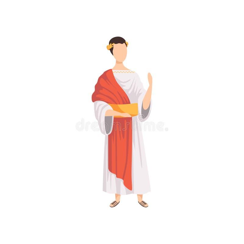 Римский император, человек в традиционных одеждах старой иллюстрации вектора Рима на белой предпосылке иллюстрация штока