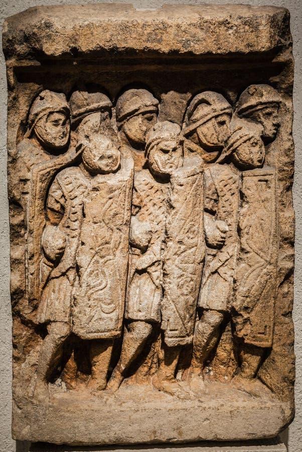 Римский могильный камень Лион Франция солдат стоковое фото