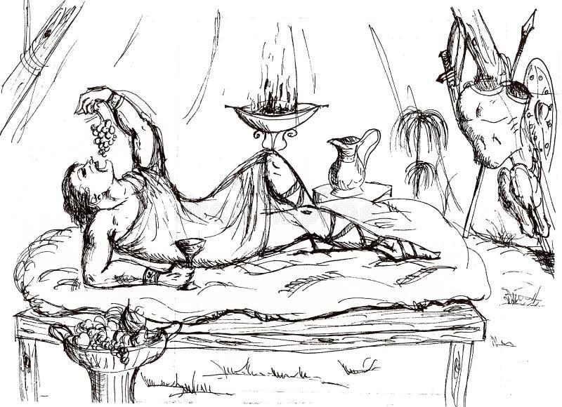 римский офицер в шатре во время перерыва в сражении иллюстрация вектора