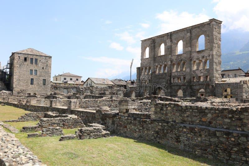Римский театр Аосты стоковая фотография rf