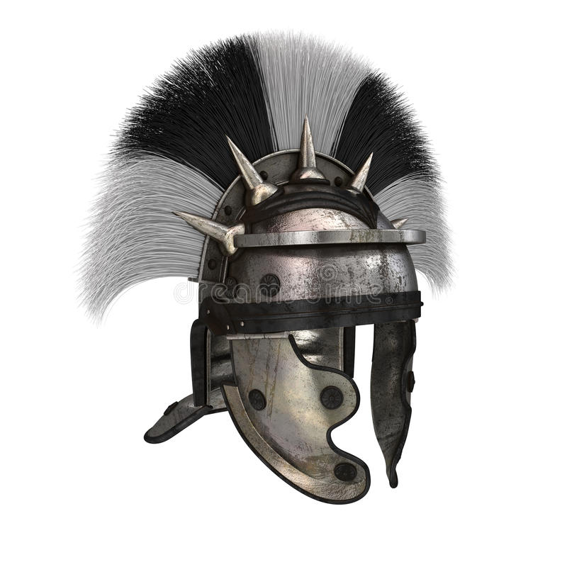 Римский шлем legionary на изолированной белой предпосылке иллюстрация 3d иллюстрация штока
