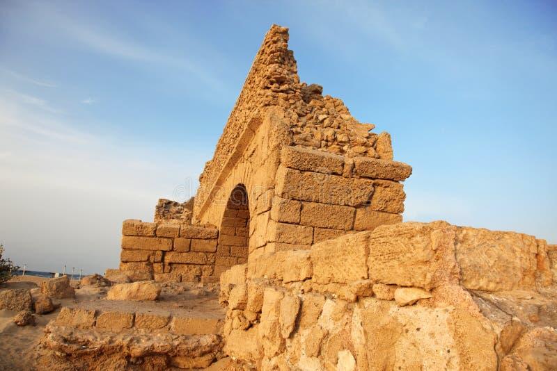 римское Израиля стародедовского ceasarea мост-водовода старое стоковое фото rf