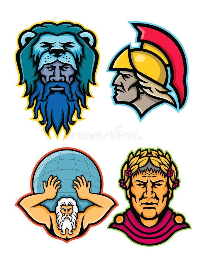 Римское и греческое собрание талисмана героев иллюстрация вектора