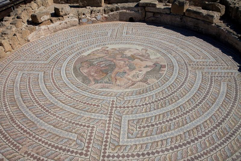 Римское наследие в парке Kato Paphos археологическом стоковая фотография rf