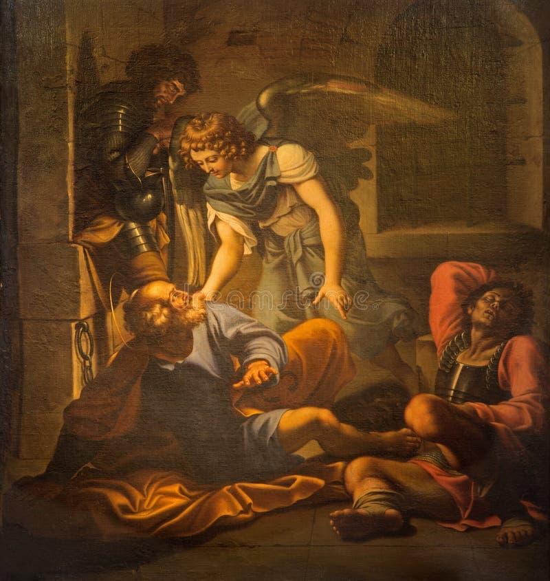 Рим - высвобождение картины St Peter Domenichino (1581 до 1641) в церков Chiesa di Сан PIetro в Vincoli стоковое фото rf