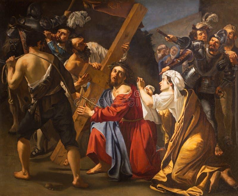 Рим - Иисус под перекрестной картиной Dirk фургоном Baburen 1617 в церков Сан Pietro в Montorio стоковые изображения