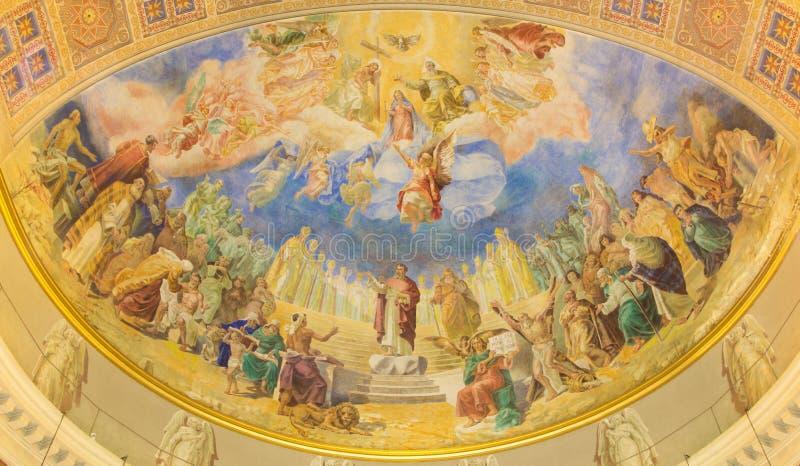 РИМ, ИТАЛИЯ: Коронование нашей фрески дамы в главной апсиде di Santa Maria Ausiliatrice базилики церков стоковая фотография rf