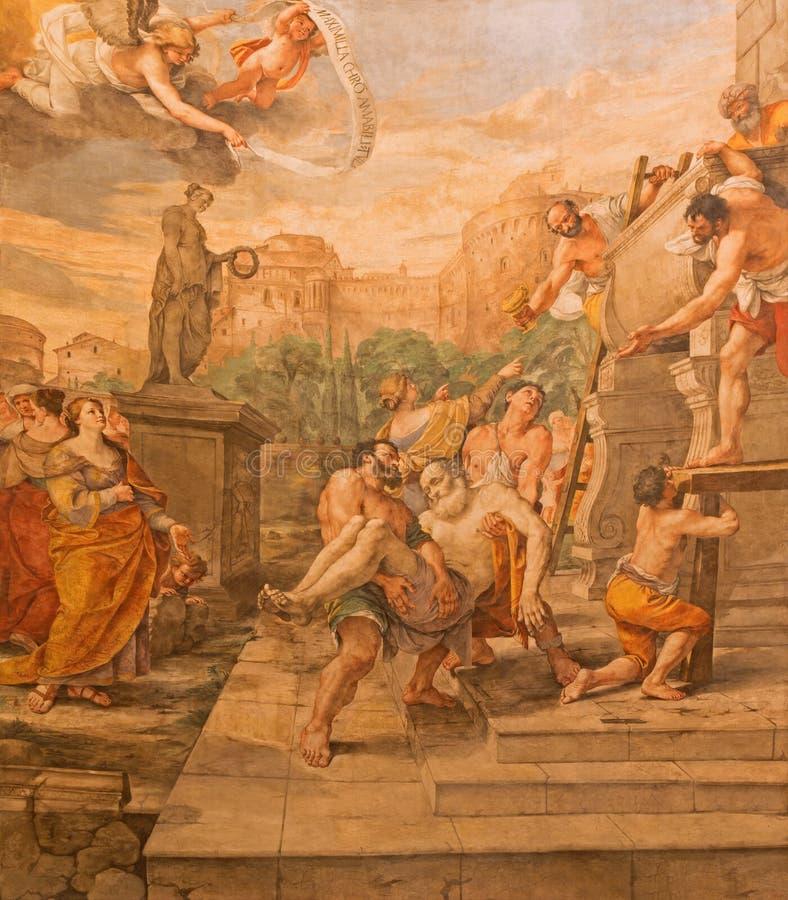 РИМ, ИТАЛИЯ: Низложение St Andrew апостол в della Valle Базилики di Sant Андреа церков Mattia Preti стоковое фото