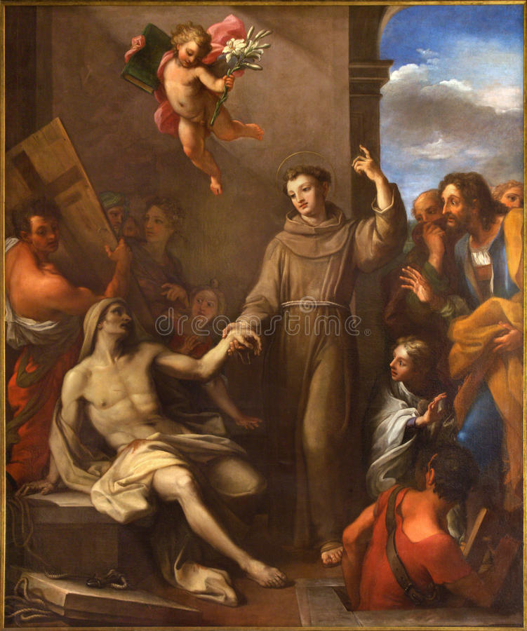 РИМ, ИТАЛИЯ - 9-ОЕ МАРТА 2016: Крася Святой Антоний Падуи поднимает человека от смерти стоковое фото rf