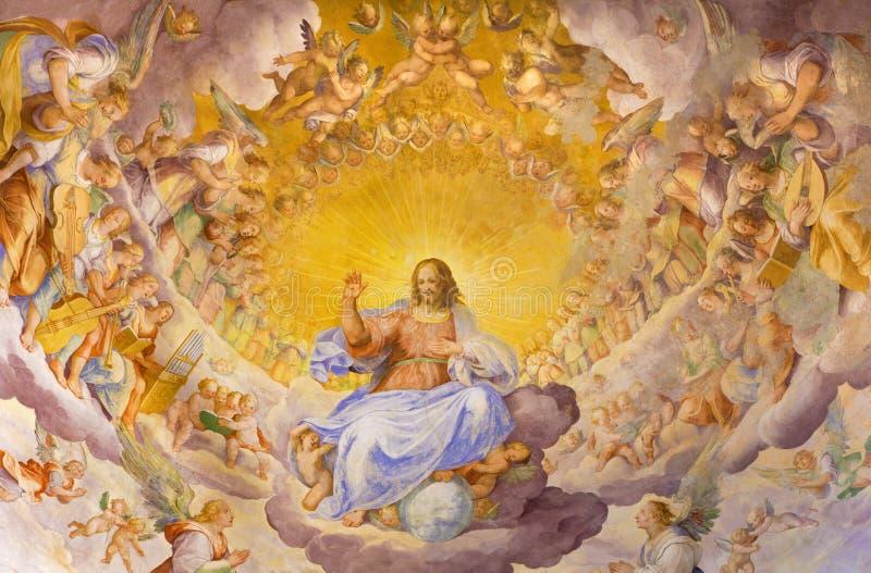 РИМ, ИТАЛИЯ, 2016: Фреска Христоса спаситель в славе с небесным хозяином Niccolo Circignani Il Pomarancio стоковые изображения rf