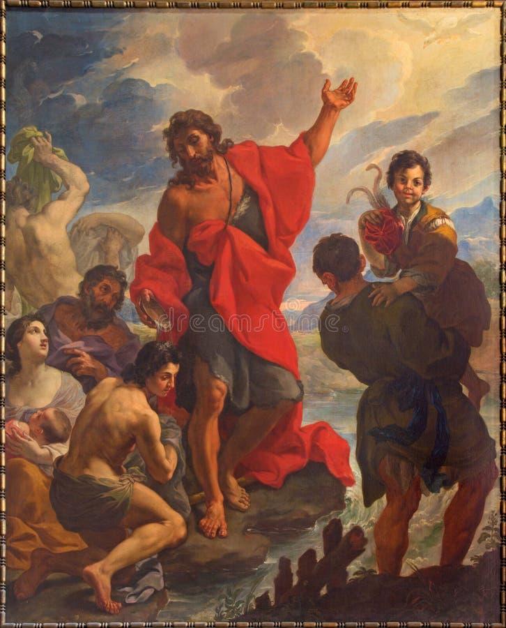 РИМ, ИТАЛИЯ: St. John крестит толпы в церков в церков Chiesa di Сан Silvestro в Capite и часовне святого духа стоковые фотографии rf
