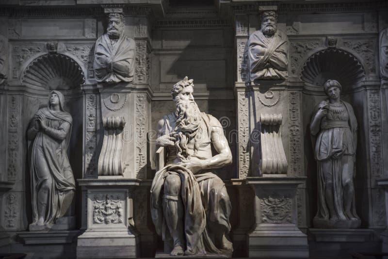 Рим, Моисей Микеланджело на усыпальнице Папы Юлия II в Sai стоковое изображение