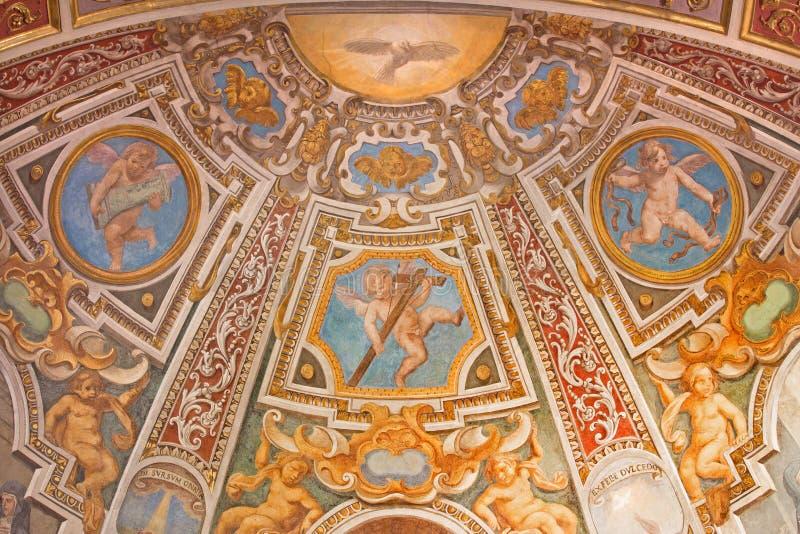 Рим - фреска апсиды в st Кларе часовни в церков Базилике di Sant Agostino (Augustine) стоковое изображение