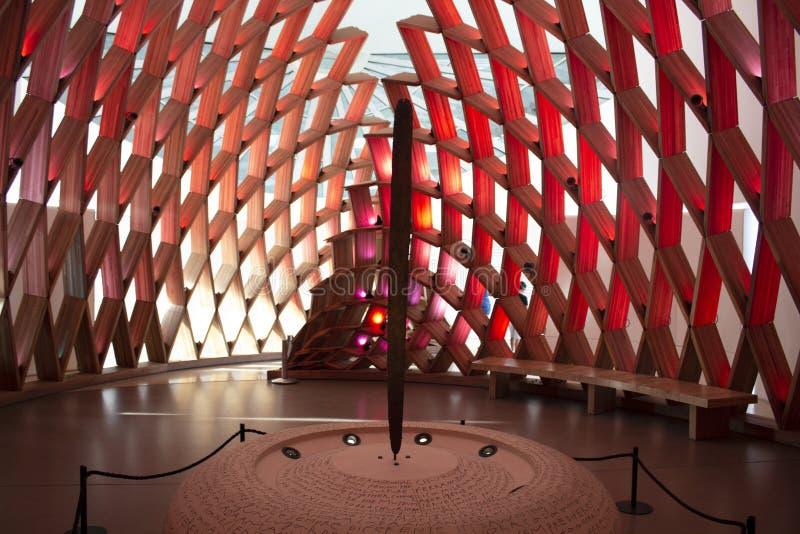 Рио Де Жанеиро, Бразилия 5-ое августа 2018 Внутренний экспонат музея завтра Museu делает Amanhã расположенное на ¡ Mauà пристани стоковое изображение