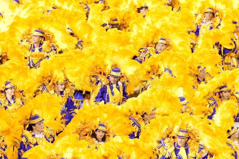 РИО-ДЕ-ЖАНЕЙРО - 11-ОЕ ФЕВРАЛЯ: Танцоры в костюме на масленице на стоковая фотография