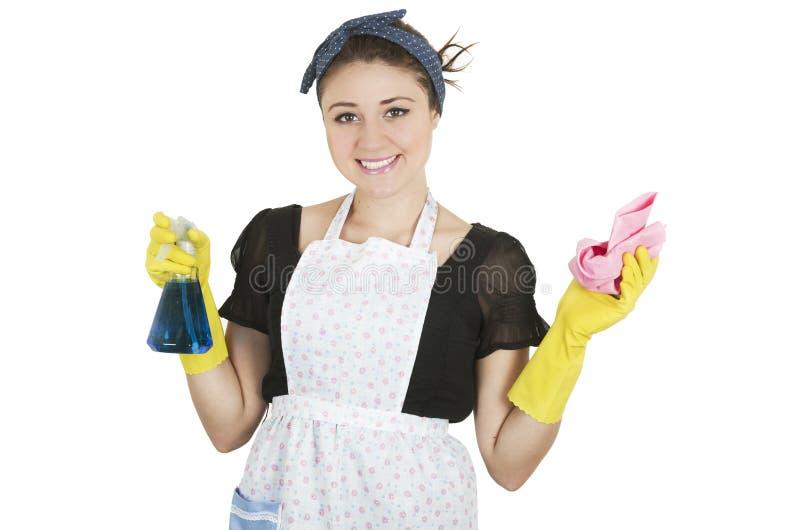 Рисберма маленькой девочки нося и чистка держать стоковое изображение rf