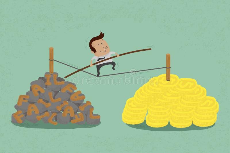 Риски и возможности в деле к успеху иллюстрация вектора
