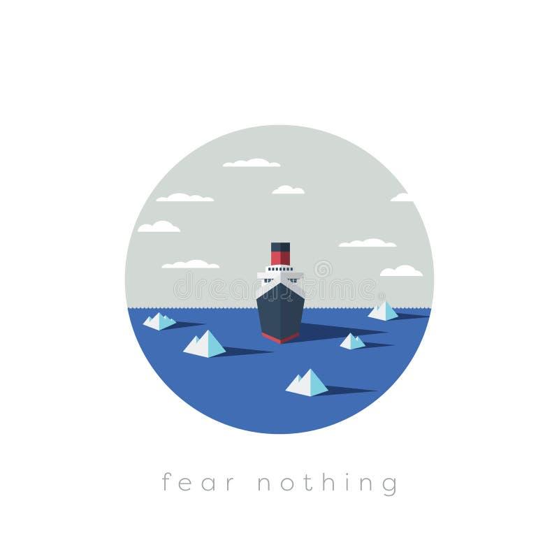 Рискованая концепция дела исследования приключения Безбоязненные корабль и айсберги исследователя в море иллюстрация штока