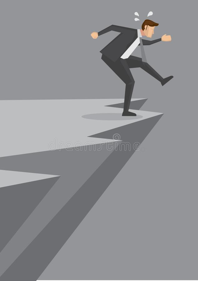 Рискованое движение бизнесменом на краю скалы иллюстрация штока