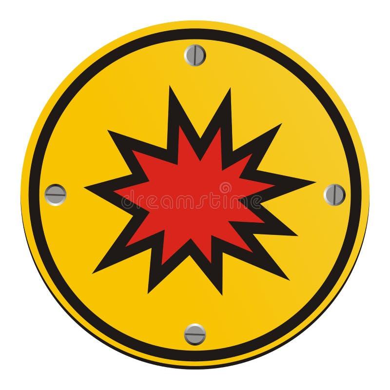 Риск взрыва - круглый желтый знак иллюстрация вектора
