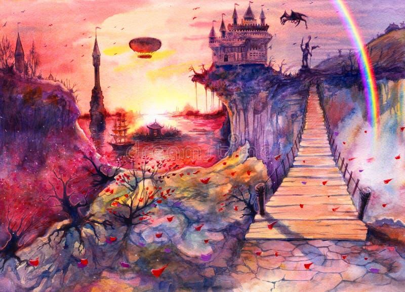 рисование живописный пейзаж живописного морского заката, водокрасный замок, скалы, скалы, скалы, дракон, радуга, крым мост, ручно бесплатная иллюстрация