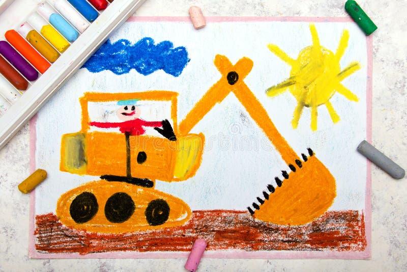 Рисовать: большой желтый экскаватор стоковые изображения rf