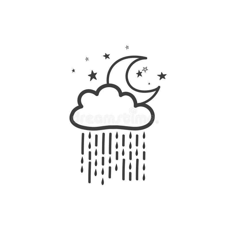 Рисовать дождливую ночь Символ погоды Чертеж вектора нарисованный вручную в стиле doodle иллюстрация штока
