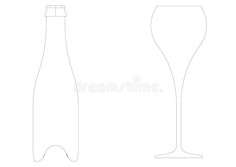 Рисовать каннелюры и бутылки, для вина, шампанское, игристое вино бесплатная иллюстрация