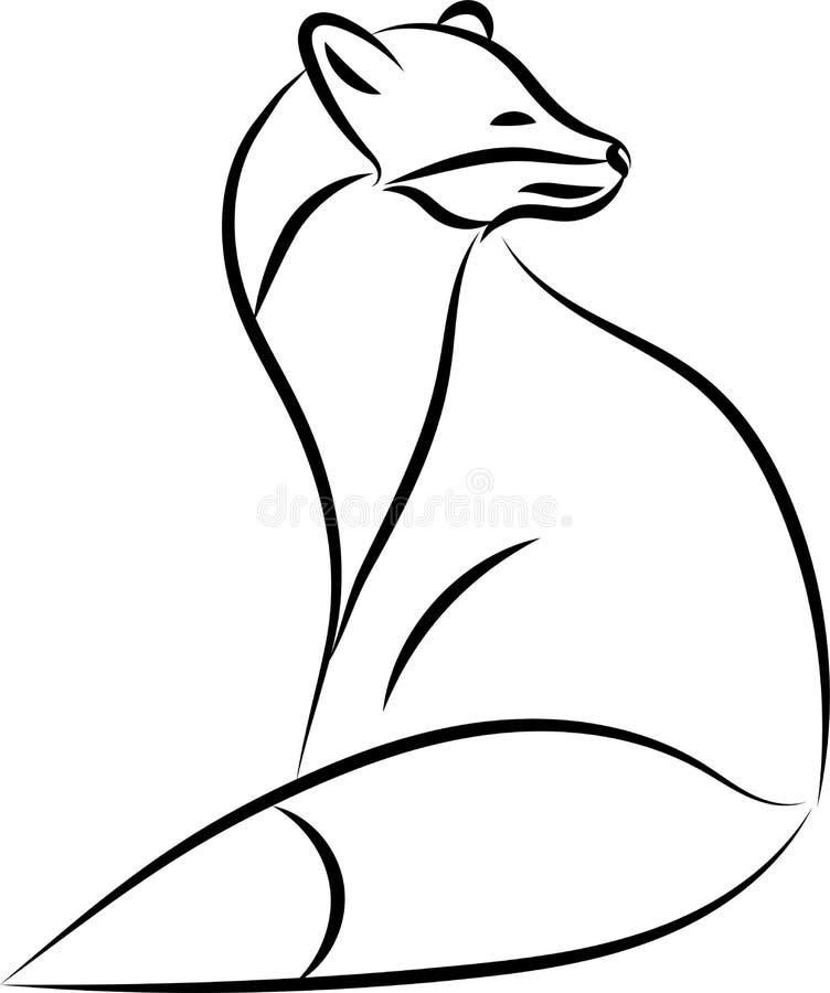 Рисовать линию лисы, логотип стоковая фотография rf