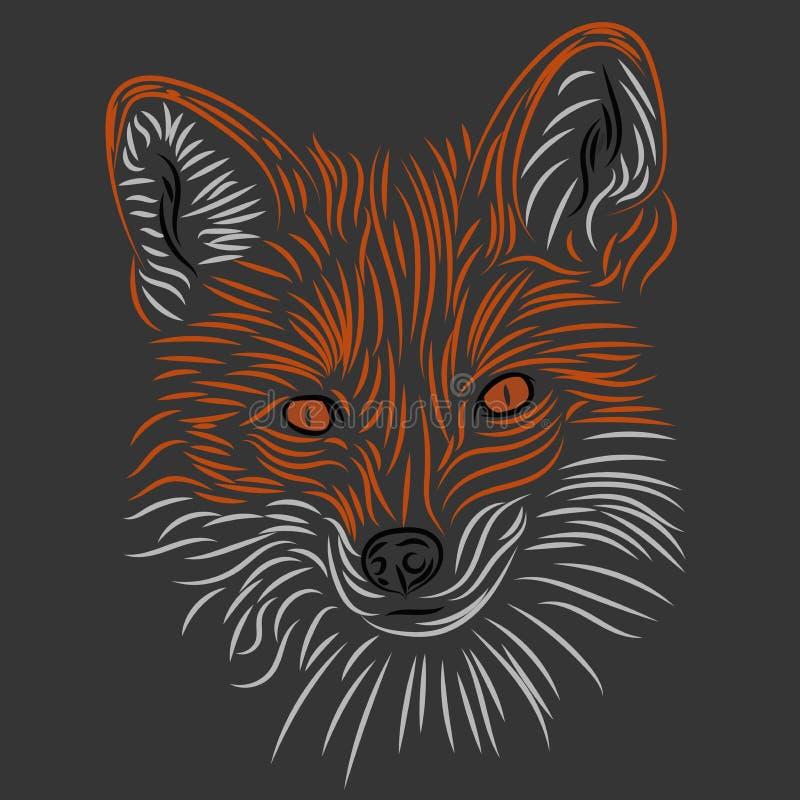 Рисовать лису на серой предпосылке, логотип стоковое изображение rf