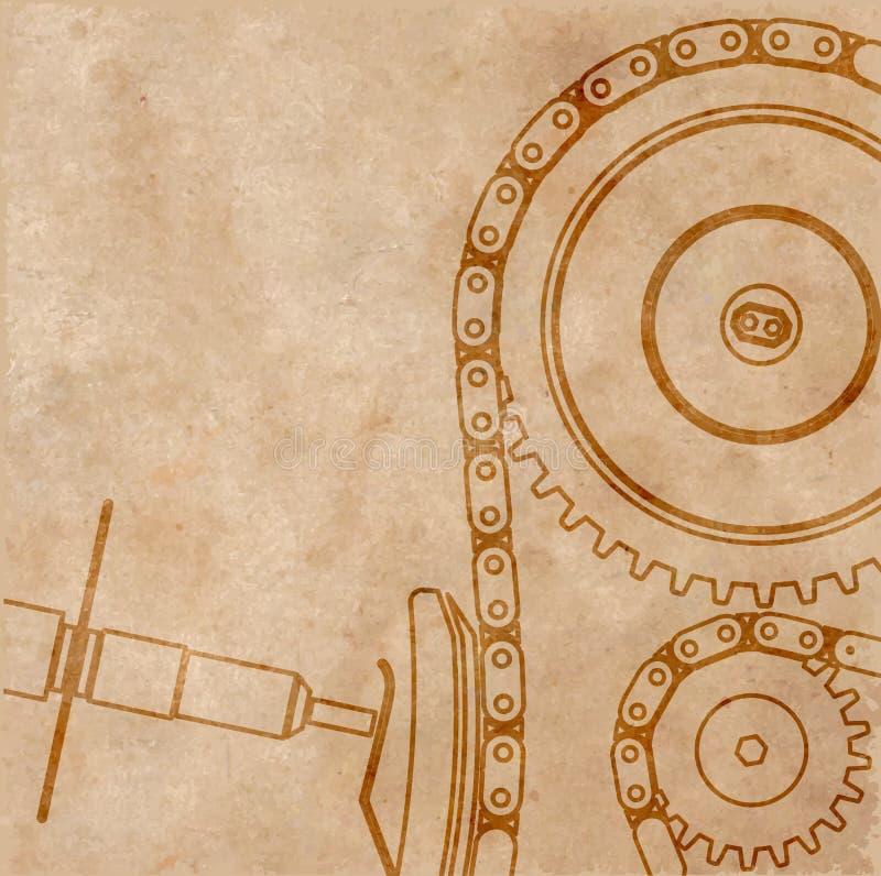 Рисовать механизм автомобиля, техническая предпосылка на старом листе бумаги, иллюстрации бесплатная иллюстрация
