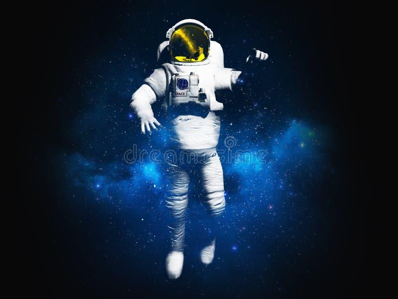 Рисовать на астронавте одежд представляя на черном rende предпосылки 3d бесплатная иллюстрация