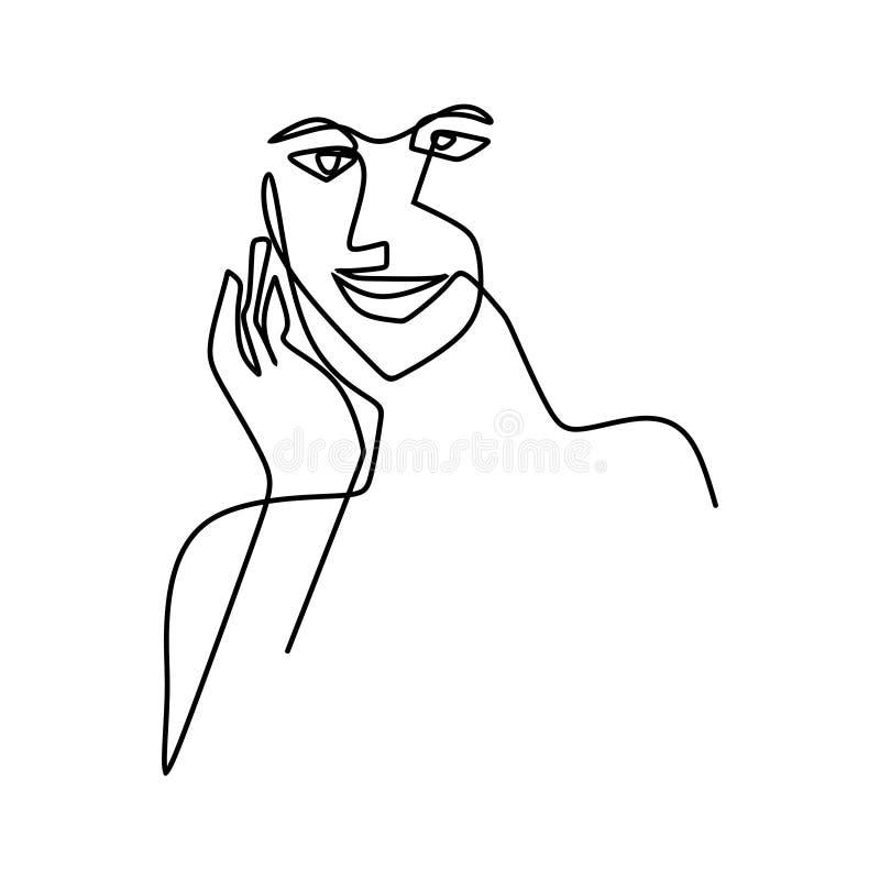 рисовать непрерывную линию выражения лица, улыбки и застенчивого иллюстрация вектора