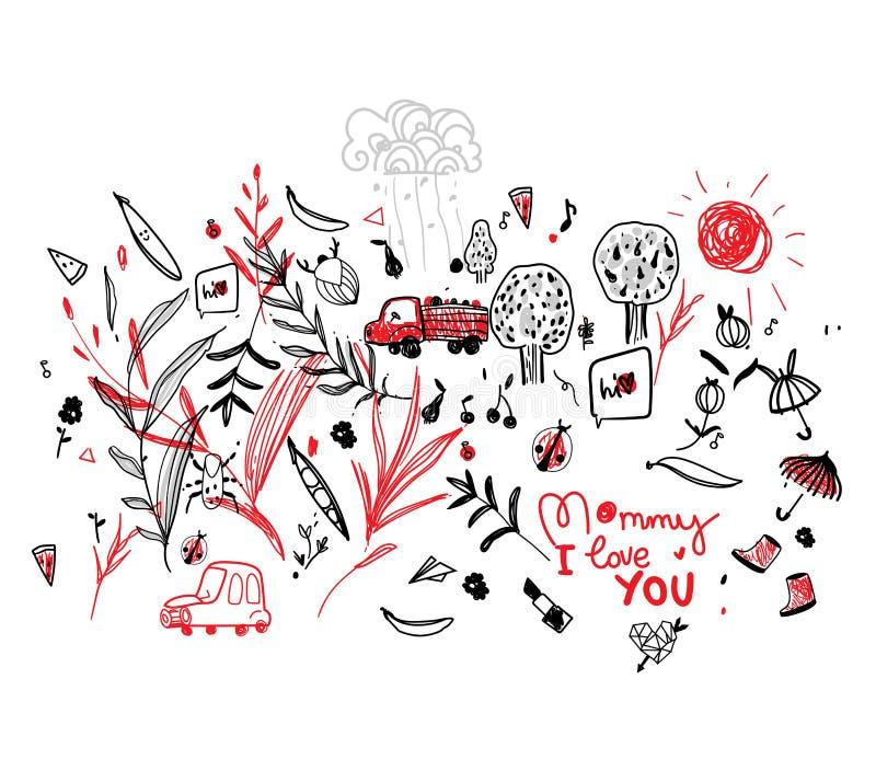 Рисовать ребенка к monochrome лини-искусства картины вектора Дня матери, monochrome с красным акцентом Ягоды иллюстрация вектора