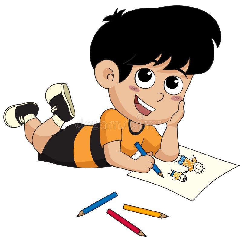 Рисовать ребенк изображения иллюстрация штока