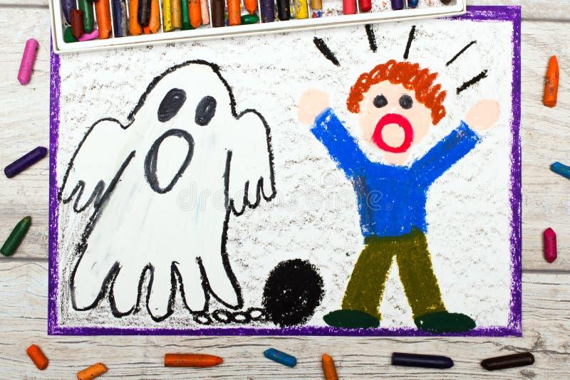 Рисовать: Страшный призрак с цепями и вспугнутый мальчик бесплатная иллюстрация