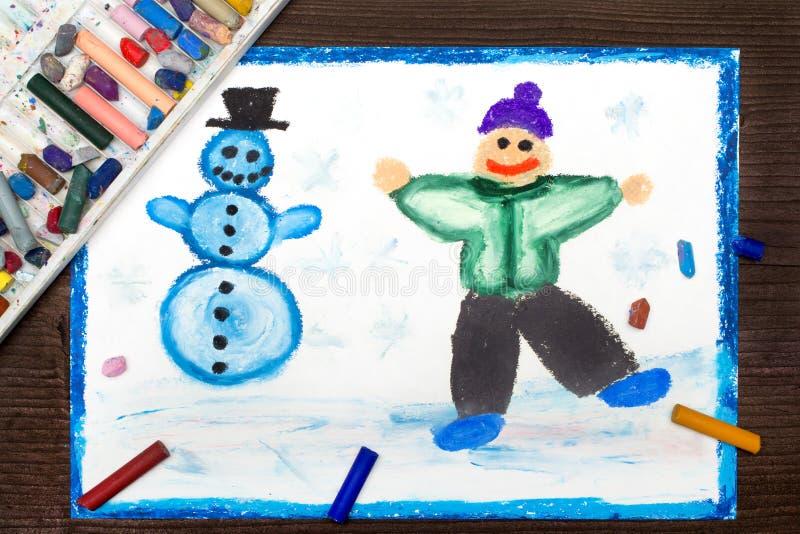 рисовать; Счастливый мальчик делая снеговик Воссоздания зимы иллюстрация вектора