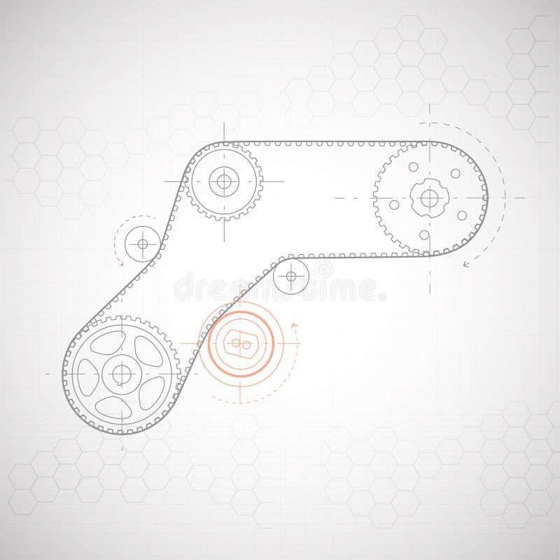 Рисовать технический Предпосылка от шестерней бесплатная иллюстрация