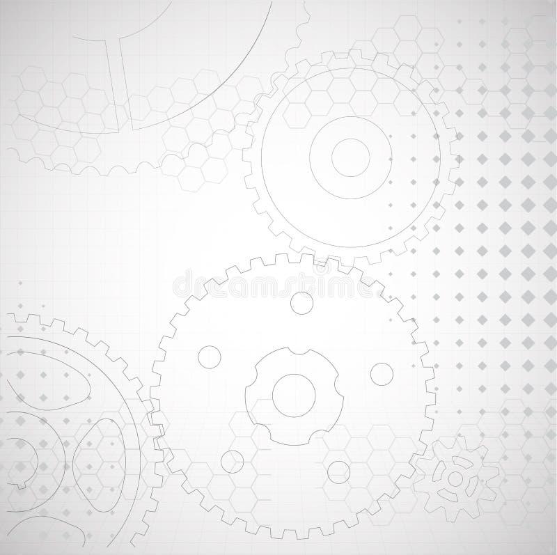 Рисовать технический Предпосылка от шестерней иллюстрация штока