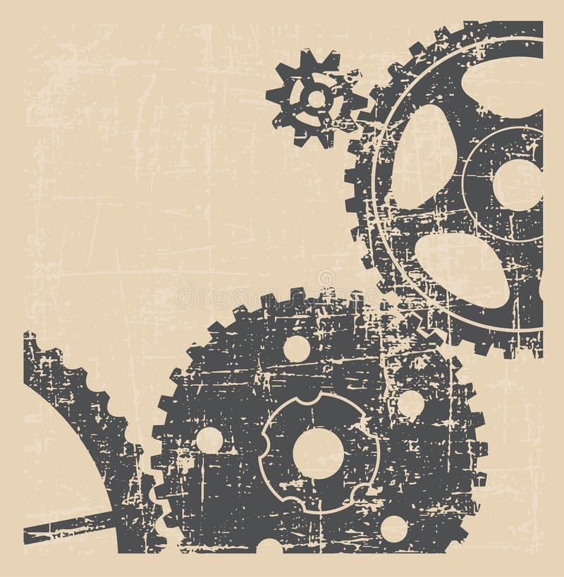 Рисовать технический Предпосылка от шестерней grunge стиля иллюстрация вектора