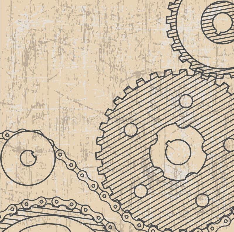 рисовать технический Предпосылка с шестернями grunge стиля бесплатная иллюстрация