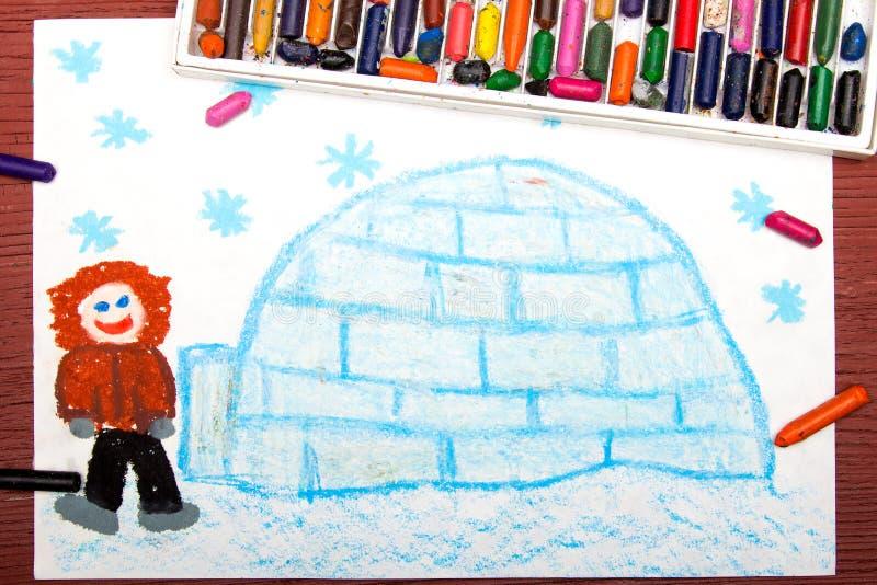 Рисовать: Эскимос с его иглу стоковые фотографии rf
