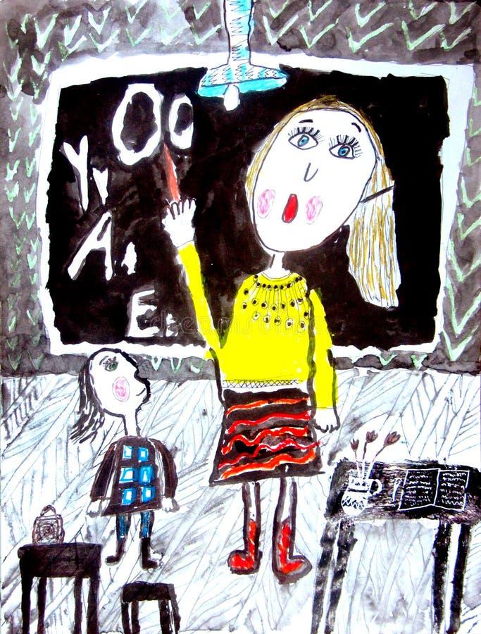 рисовать childs Учитель женщины на классн классном в классе при девушка объясняя урок иллюстрация штока