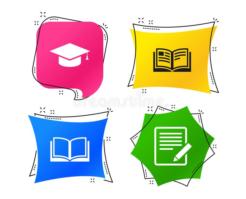 Рисуйте и раскройте знаки книги Значок крышки градации вектор иллюстрация штока