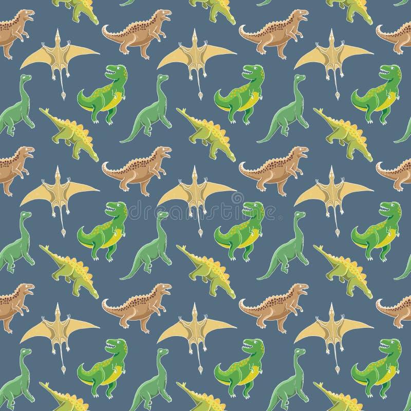 Рисунок из вектора Dino Seamless Pattern, Cute Cartoon Hand Drawn Dinosaurs Doodles Doodles бесплатная иллюстрация