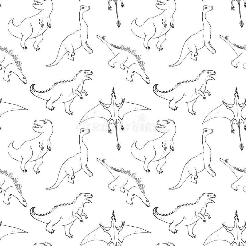 Рисунок из вектора Dino Seamless Pattern, Cute Cartoon Hand Drawn Dinosaurs Doodles Doodles иллюстрация вектора