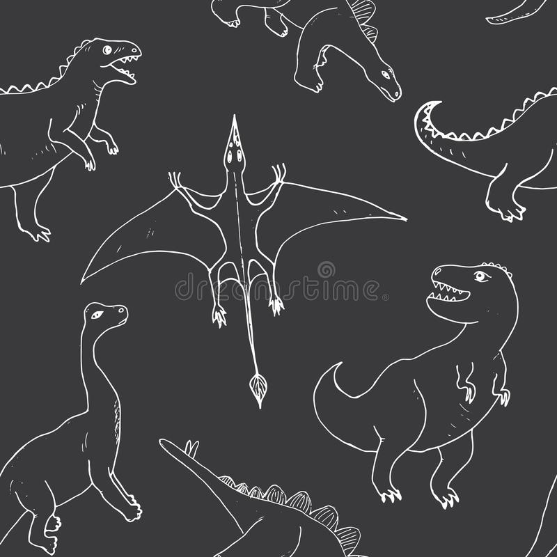 Рисунок из вектора Dino Seamless Pattern, Cute Cartoon Hand Drawn Dinosaurs Doodles Doodles иллюстрация штока