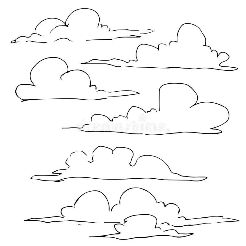 Рисунок из линейного рисунка облака иллюстрация штока