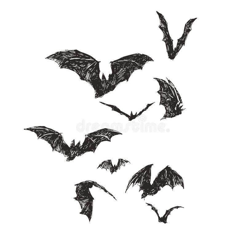 Рисунок, нарисованный векторной рукой, с пачком летучих мышей, изолированных на белом Символ Хэллоуина Рисунок для дизайна Дня Вс бесплатная иллюстрация